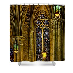 Stained Glass Windows At Saint Patricks Cathedral Shower Curtain by Susan Candelario