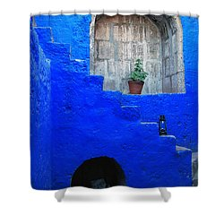 Staircase In Blue Courtyard Shower Curtain by RicardMN Photography