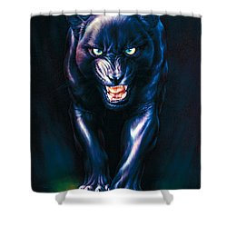 Stalking Panther Shower Curtain by Andrew Farley