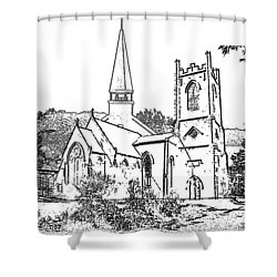 Stamp Of Churches Shower Curtain by Vicky  Hutton