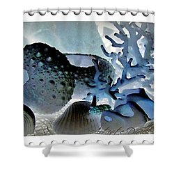 Stamp Seashells In Blue  Shower Curtain by Danielle  Parent