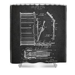 Stanton Bass Drum Patent Drawing From 1904 - Dark Shower Curtain by Aged Pixel