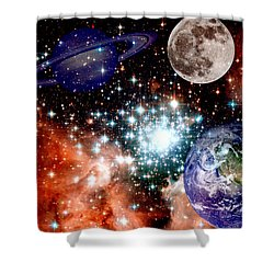 Star Field With Planets Shower Curtain by J D Owen