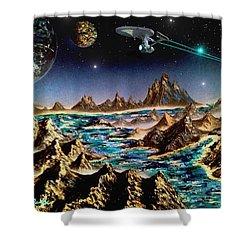 Star Trek - Orbiting Planet Shower Curtain by Michael Rucker