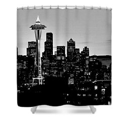 Stark Seattle Skyline Shower Curtain by Benjamin Yeager