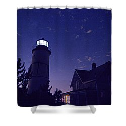 Starry Night At Sandy Neck Lighthouse Shower Curtain by Charles Harden