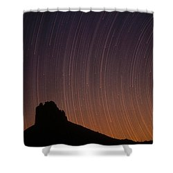Startrails Over Shiprock In The Four Shower Curtain by Tim Fitzharris