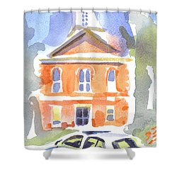 Stately Courthouse With Police Car Shower Curtain by Kip DeVore