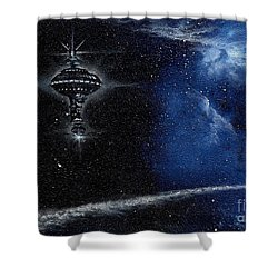 Station In The Stars Shower Curtain by Murphy Elliott
