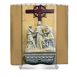Station Of The Cross 10 Shower Curtain by Thomas Woolworth