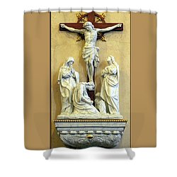 Station Of The Cross 12 Shower Curtain by Thomas Woolworth