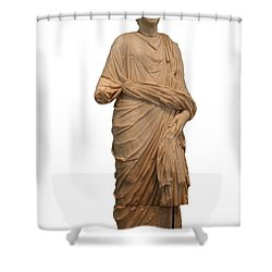 Statue Of A Roman Priest Wearing A Toga Shower Curtain by Tracey Harrington-Simpson