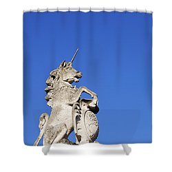 Statue Of A Unicorn On The Walls Of Buckingham Palace In London England Shower Curtain by Robert Preston