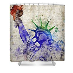 Statue Of Liberty Shower Curtain by Aged Pixel