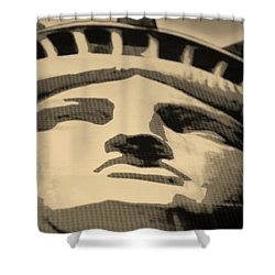 Statue Of Liberty In Sepia Shower Curtain by Rob Hans