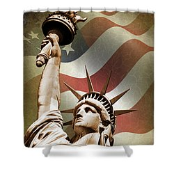 Statue Of Liberty Shower Curtain by Mark Rogan