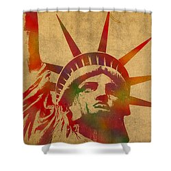 Statue Of Liberty Watercolor Portrait No 2 Shower Curtain by Design Turnpike