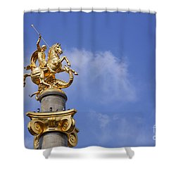 Statue Of St George And The Dragon In Tbilisi Shower Curtain by Robert Preston