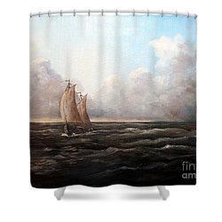 Staying Ahead Of The Weather Shower Curtain by Lee Piper