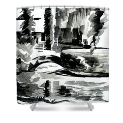 Ste Marie Du Lac Pond And Parish Shower Curtain by Kip DeVore