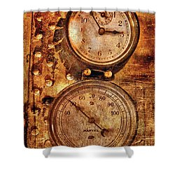 Steampunk - Gauges Shower Curtain by Mike Savad