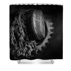 Steampunk - Gear - Hoist And Chain Shower Curtain by Mike Savad