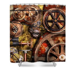 Steampunk - Gears - Inner Workings Shower Curtain by Mike Savad