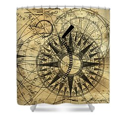 Steampunk Gold Compass Shower Curtain by James Christopher Hill