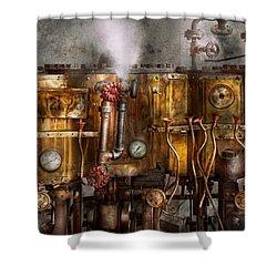 Steampunk - Plumbing - Distilation Apparatus  Shower Curtain by Mike Savad