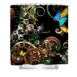 Steampunk - Surreal - Mind Games Shower Curtain by Mike Savad