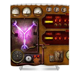 Steampunk - Temporal Flux Shower Curtain by Mike Savad