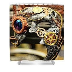 Steampunk - The Mask Shower Curtain by Paul Ward