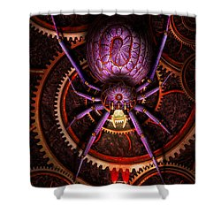 Steampunk - The Webs We Weave Shower Curtain by Mike Savad