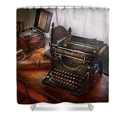 Steampunk - Typewriter - The Secret Messenger  Shower Curtain by Mike Savad