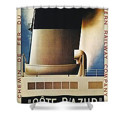 Steamship Travel Poster Shower Curtain by Granger