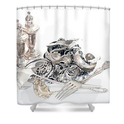 Sterling Silver Scrap Shower Curtain by Gunter Nezhoda