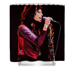 Steven Tyler In Aerosmith Shower Curtain by Paul Meijering