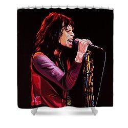 Steven Tyler In Aerosmith Shower Curtain by Paul Meijering
