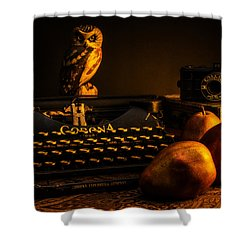 Still Life - Pears And Typewriter Shower Curtain by Jon Woodhams