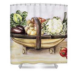 Still Life With A Trug Of Vegetables Shower Curtain by Alison Cooper