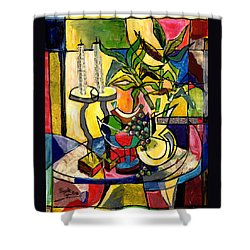 Still Life With Fruit Candles And Bamboo Shower Curtain by Everett Spruill