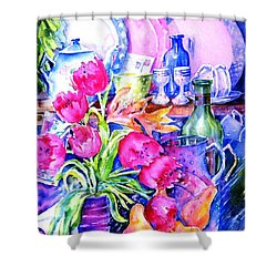 Still Life With Tulips  Shower Curtain by Trudi Doyle