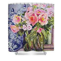 Still Life With Two Blue Ginger Jars Shower Curtain by Joan Thewsey