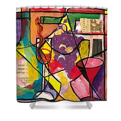 Still Life With Wine And Fruit B Shower Curtain by Everett Spruill