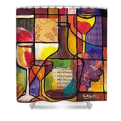 Still Life With Wine And Fruit Shower Curtain by Everett Spruill