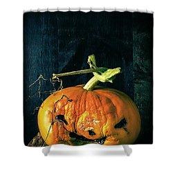 Stingy Jack - Scary Halloween Pumpkin Shower Curtain by Edward Fielding