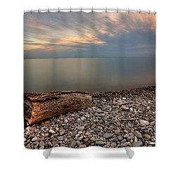 Stone Beach Shower Curtain by James Dean