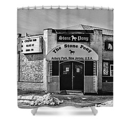 Stone Pony In Black And White Shower Curtain by Paul Ward