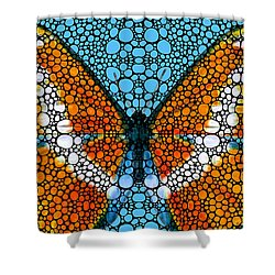 Stone Rock'd Butterfly By Sharon Cummings Shower Curtain by Sharon Cummings