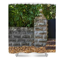 Stone Wall And Gate Shower Curtain by Rich Franco